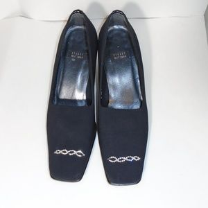 Stuart Weitzman Black Nylon Platform Loafer Shoe